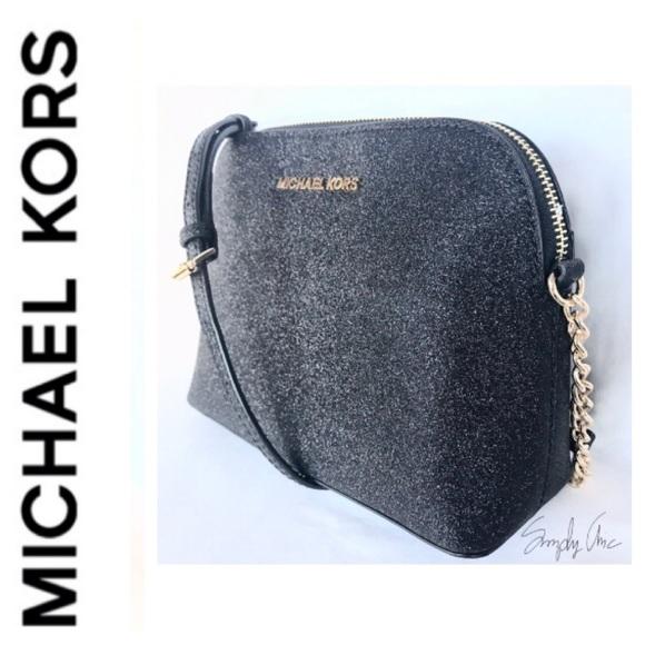 6fe60ceeed92 New MK Cindy dome glitter leather Crossbody black